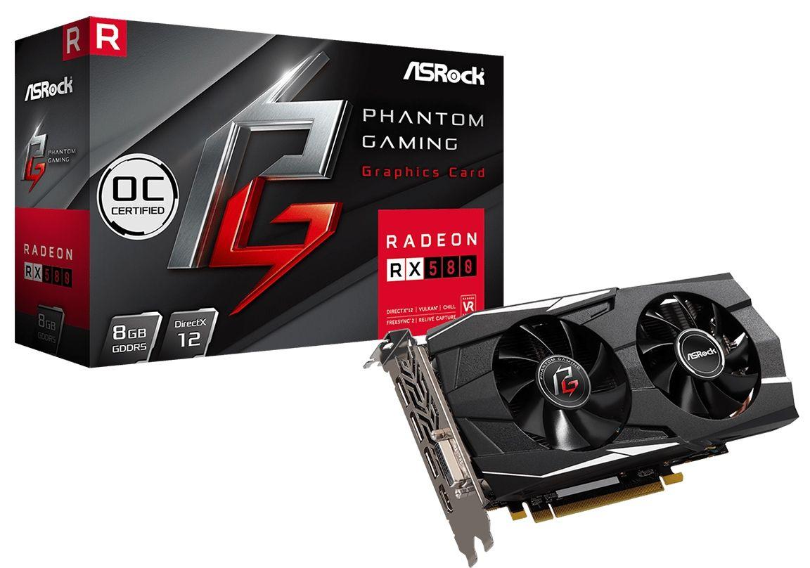 Видеокарта ASRock Radeon RX 580 - Phantom Gaming D OC, 8GB, GDDR5 - 1