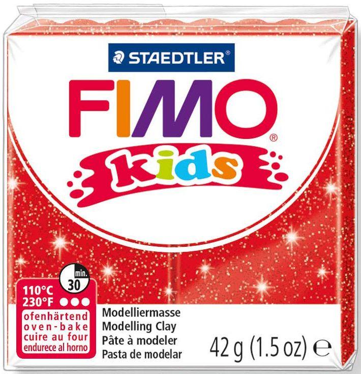 Полимерна глина Staedtler Fimo Kids - блестящ червен цвят - 1