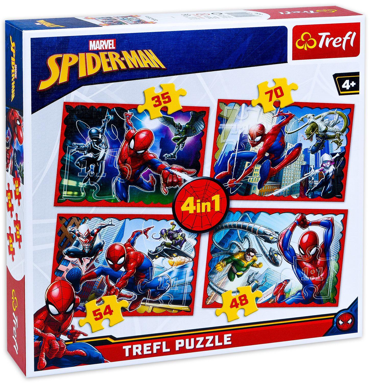 Пъзел Trefl 4 в 1 - В мрежата на Спайдърмен - 1