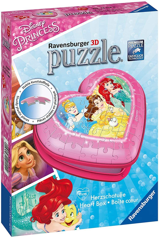 3D пъзел Ravensburger от 54 части - Кутия за бижута сърце, Принцеси - 1