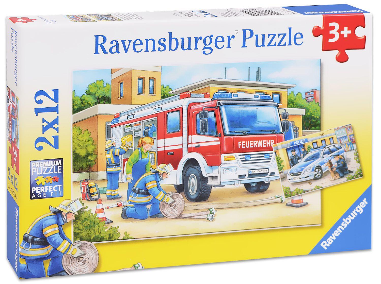 Пъзел Ravensburger от 2х12 части - Полицай и пожарникари - 1