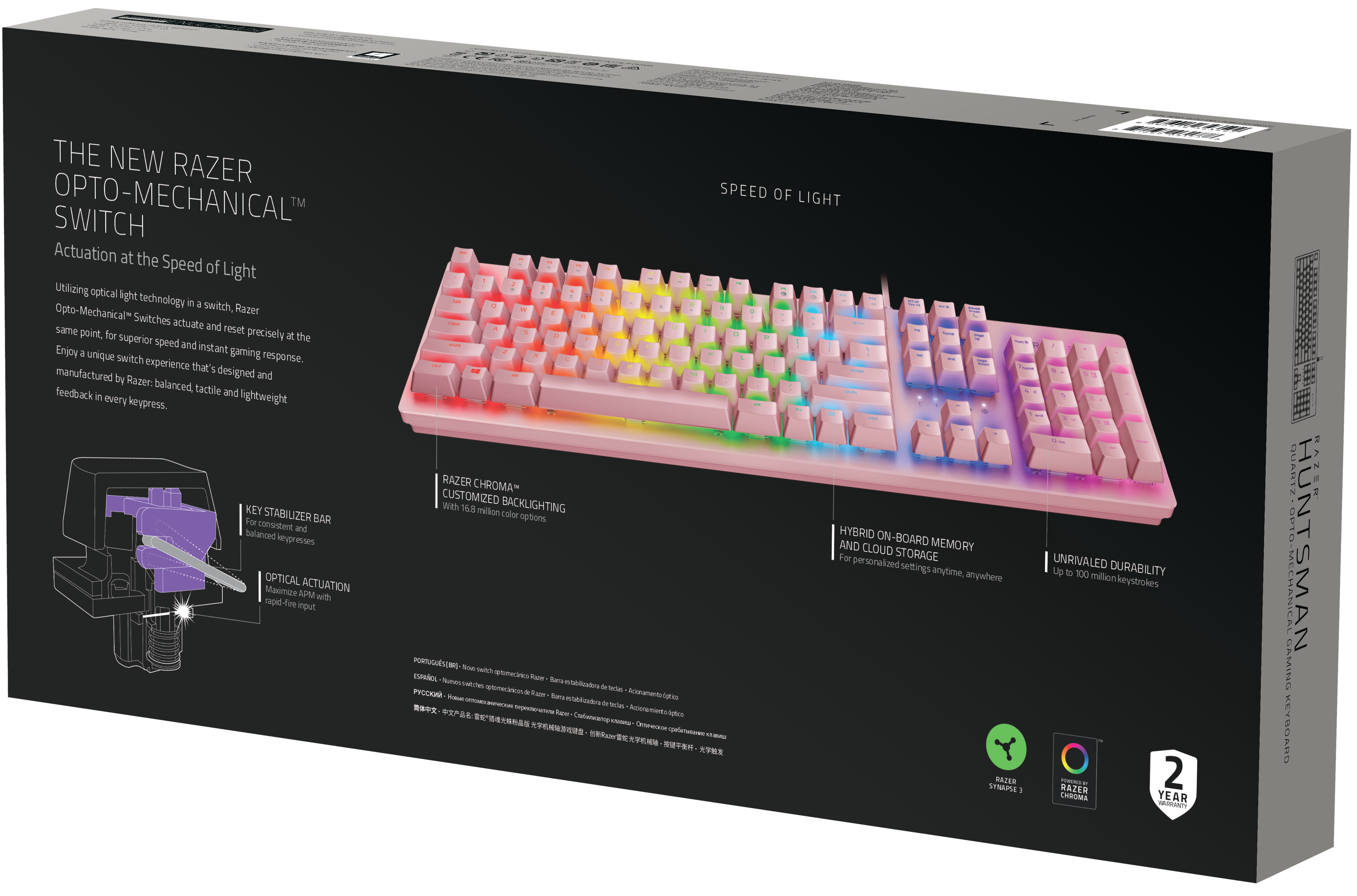 Механична клавиатура Razer Huntsman Quartz - US Layout, розова - 2