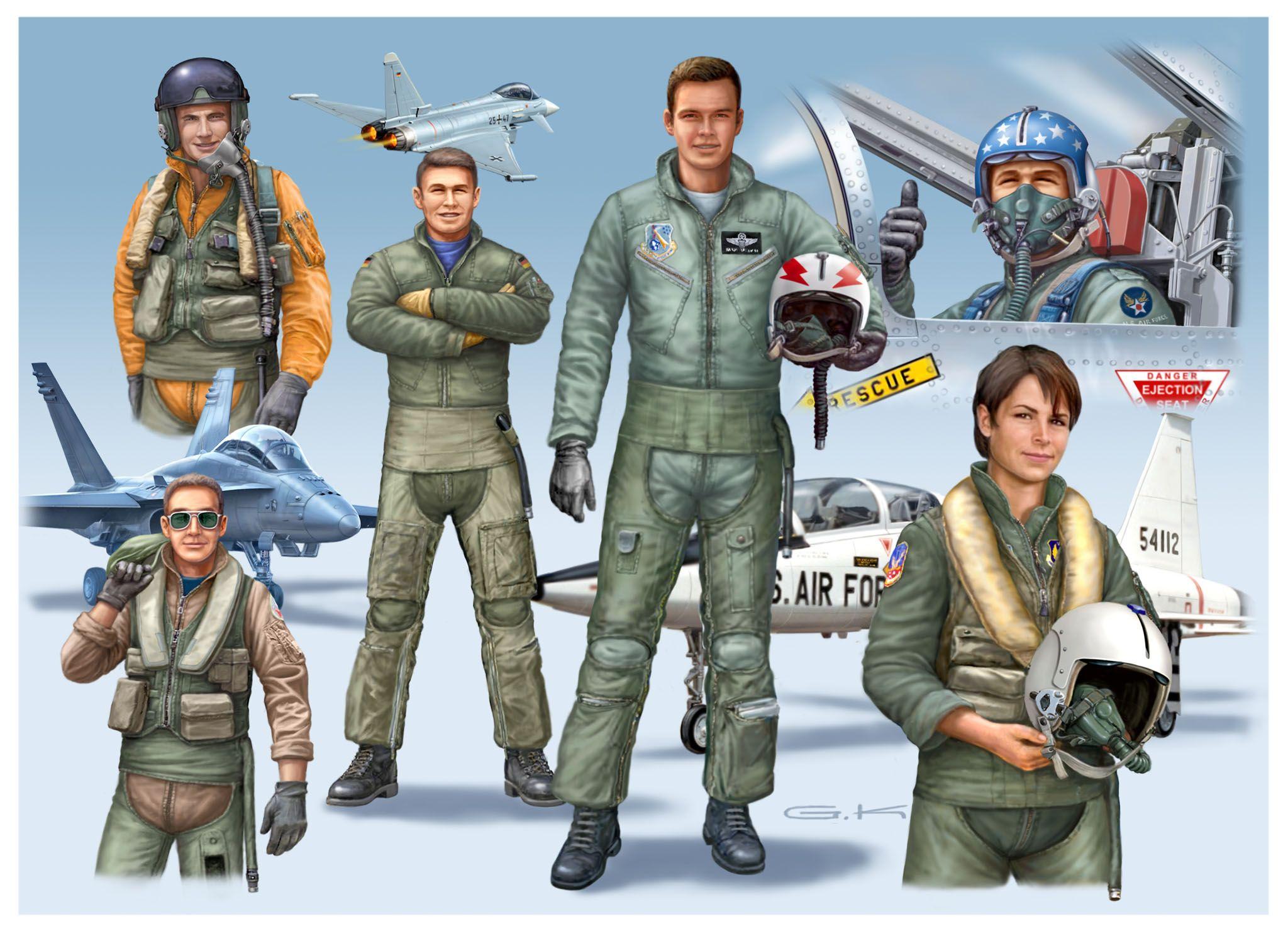 Фигури Revell - NATO PILOTS (D/GB/USA) modern (02402) - 2