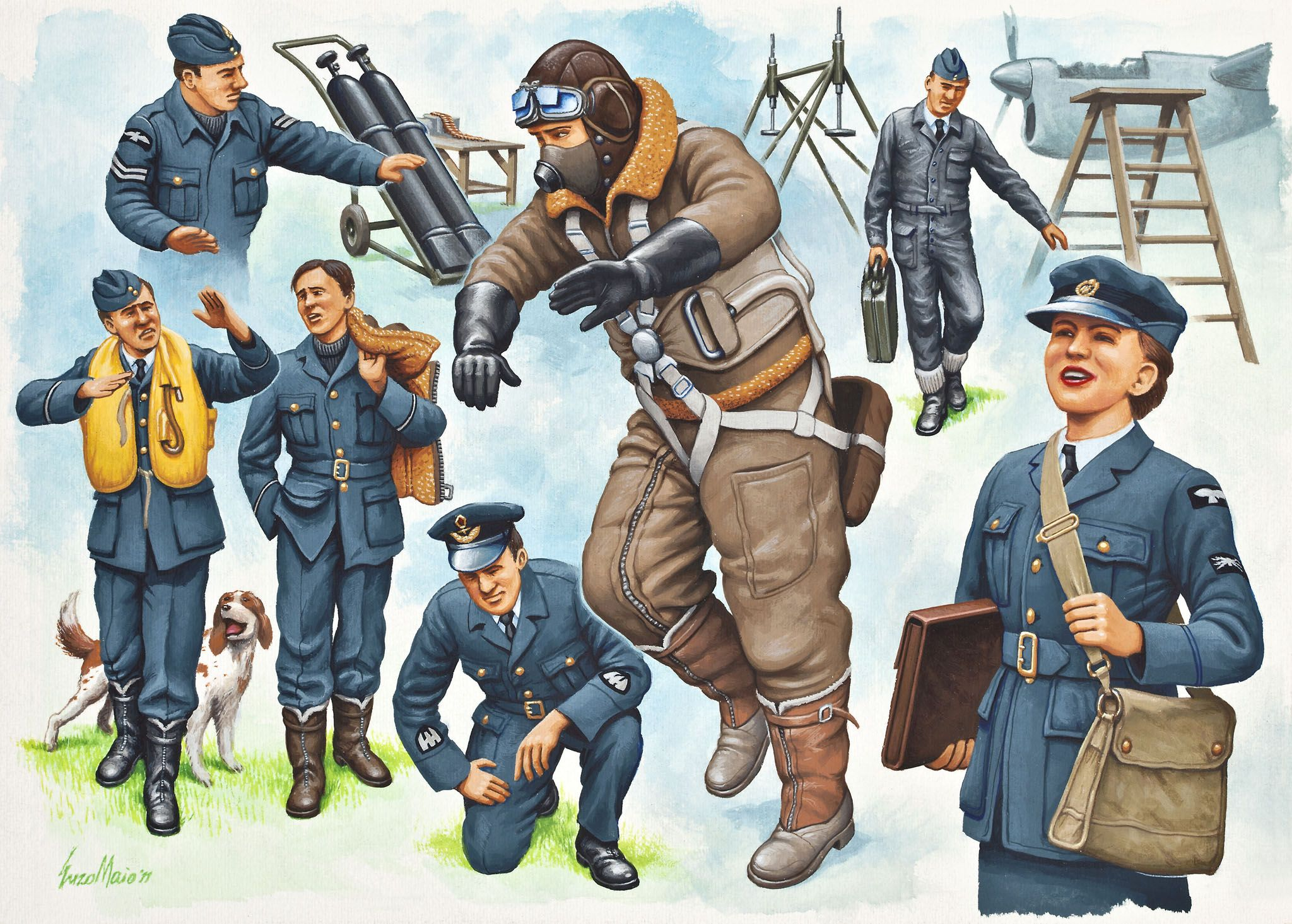 Фигури Revell - Pilots & Ground Crew Royal Air Force WWII (02620) - 1