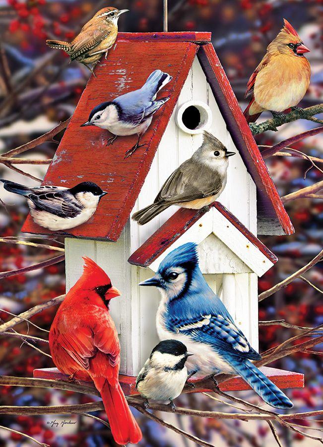 Пъзел Cobble Hill от 1000 части - Зимна къщичка за птици, Грег Джордано - 2