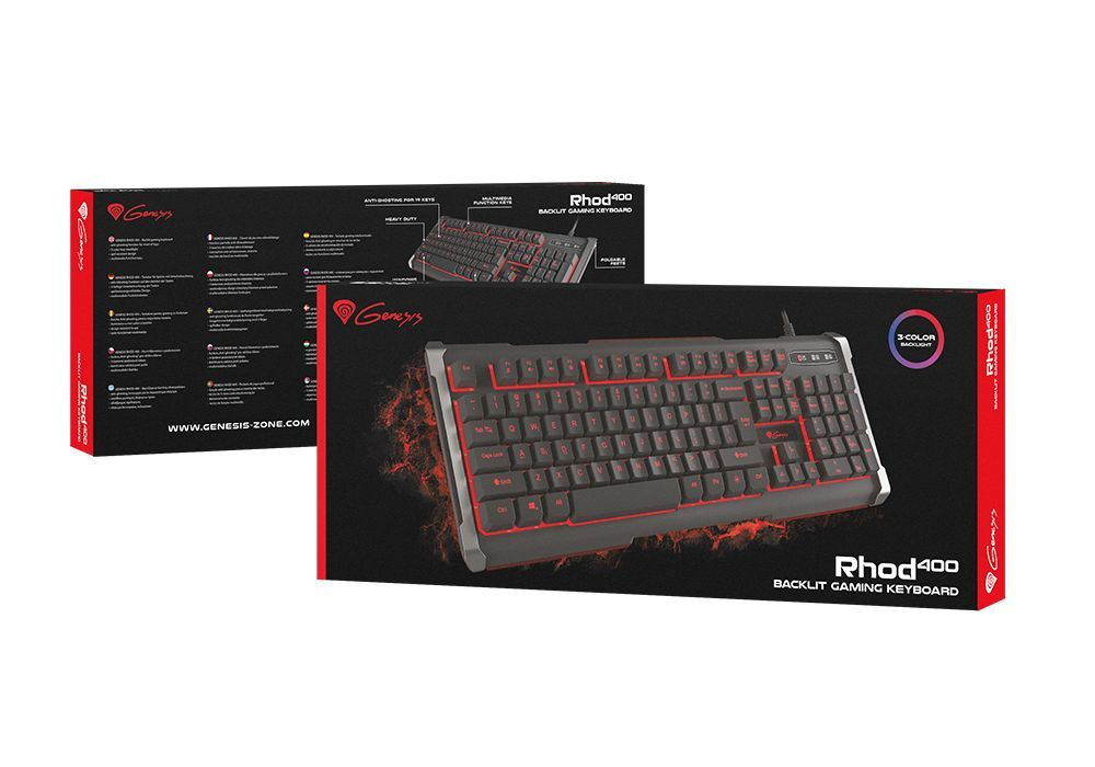 Гейминг клавиатура Genesis RHOD 400 - подсветка в 3 цвята - 7