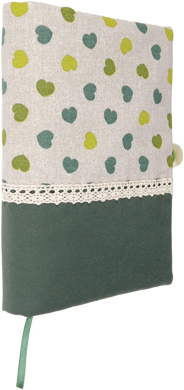 Рокля за книга (Текстилна подвързия с копче): Зелени сърца, зелена основа, дантела - 5