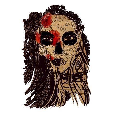 Тениска RockaCoca Dead Mask, бяла, размер M - 1