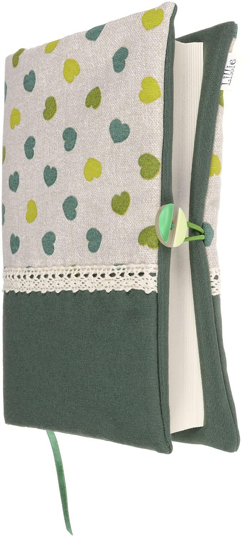 Рокля за книга (Текстилна подвързия с копче): Зелени сърца, зелена основа, дантела - 6