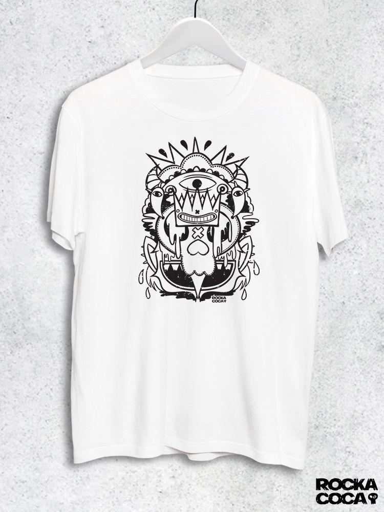 Тениска RockaCoca Skull King, бяла, размер S - 1