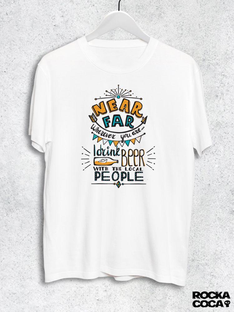 Тениска RockaCoca Near Far, бяла, размер L - 1