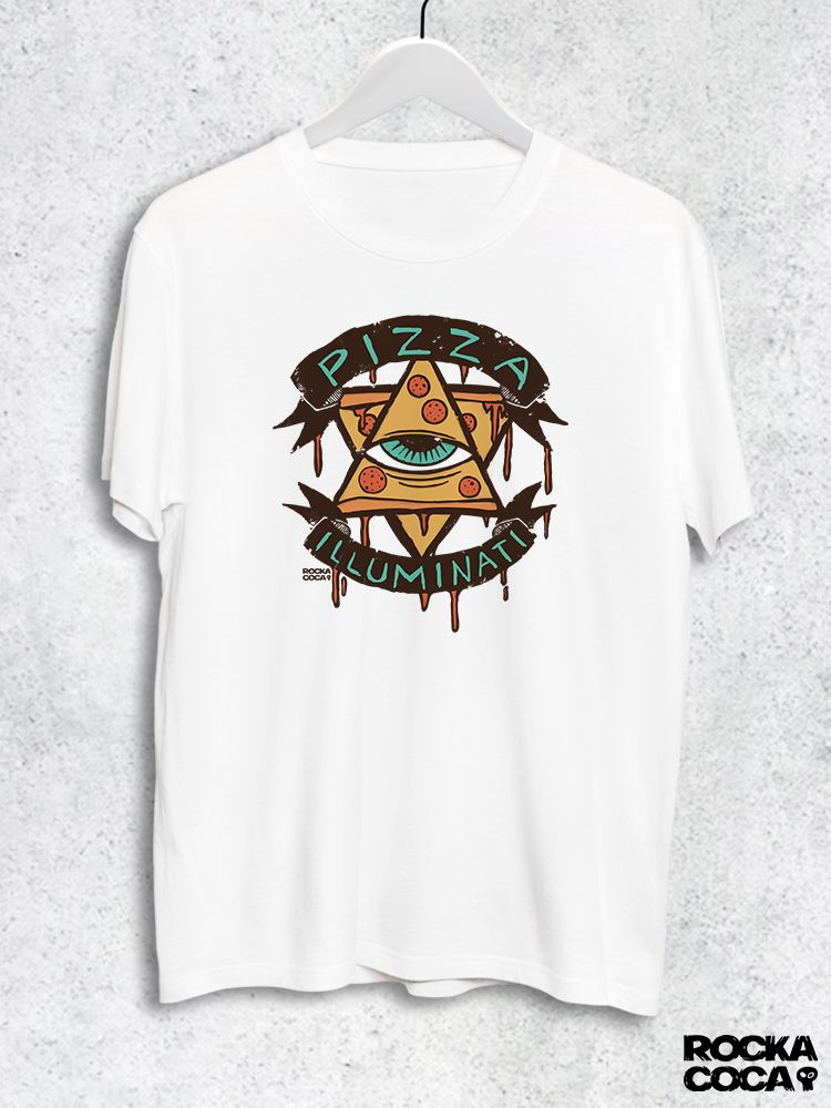 Тениска RockaCoca Pizza Iluminati, бяла, размер XL - 1