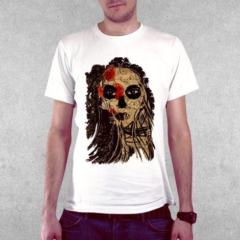 Тениска RockaCoca Dead Mask, бяла, размер M - 2