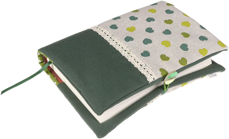 Рокля за книга (Текстилна подвързия с копче): Зелени сърца, зелена основа, дантела - 7