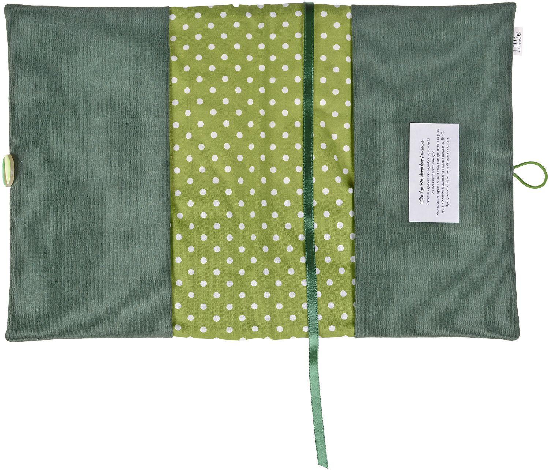 Рокля за книга (Текстилна подвързия с копче): Зелени сърца, зелена основа, дантела - 4