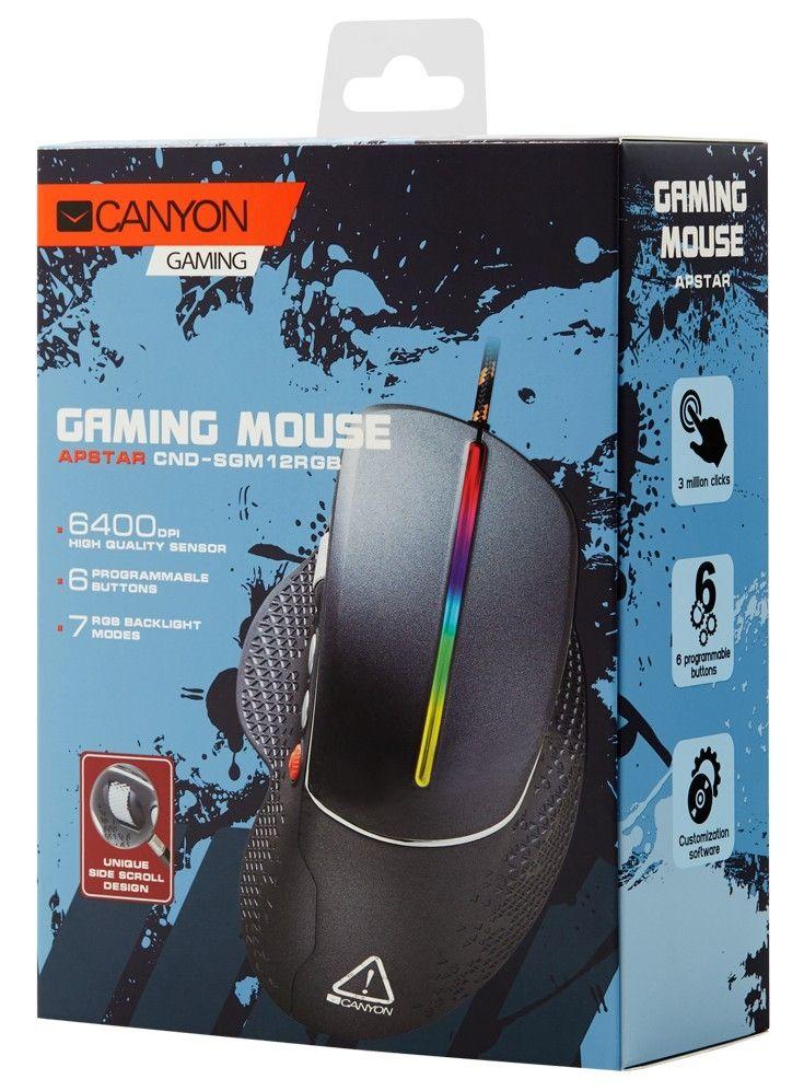 Гейминг мишка Canyon - CND-SGM12RGB, черна - 5