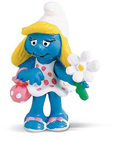 """Фигурка Schleich от серията """"Смърфовете – забавни фигурки"""": Смърфиета с цвете - 1"""