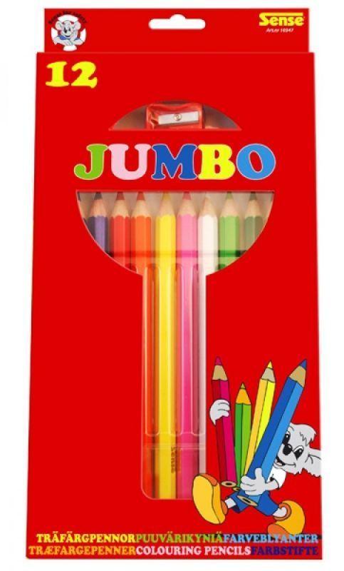 Цветни моливи с острилка Sense – Jumbo, 12 броя - 1