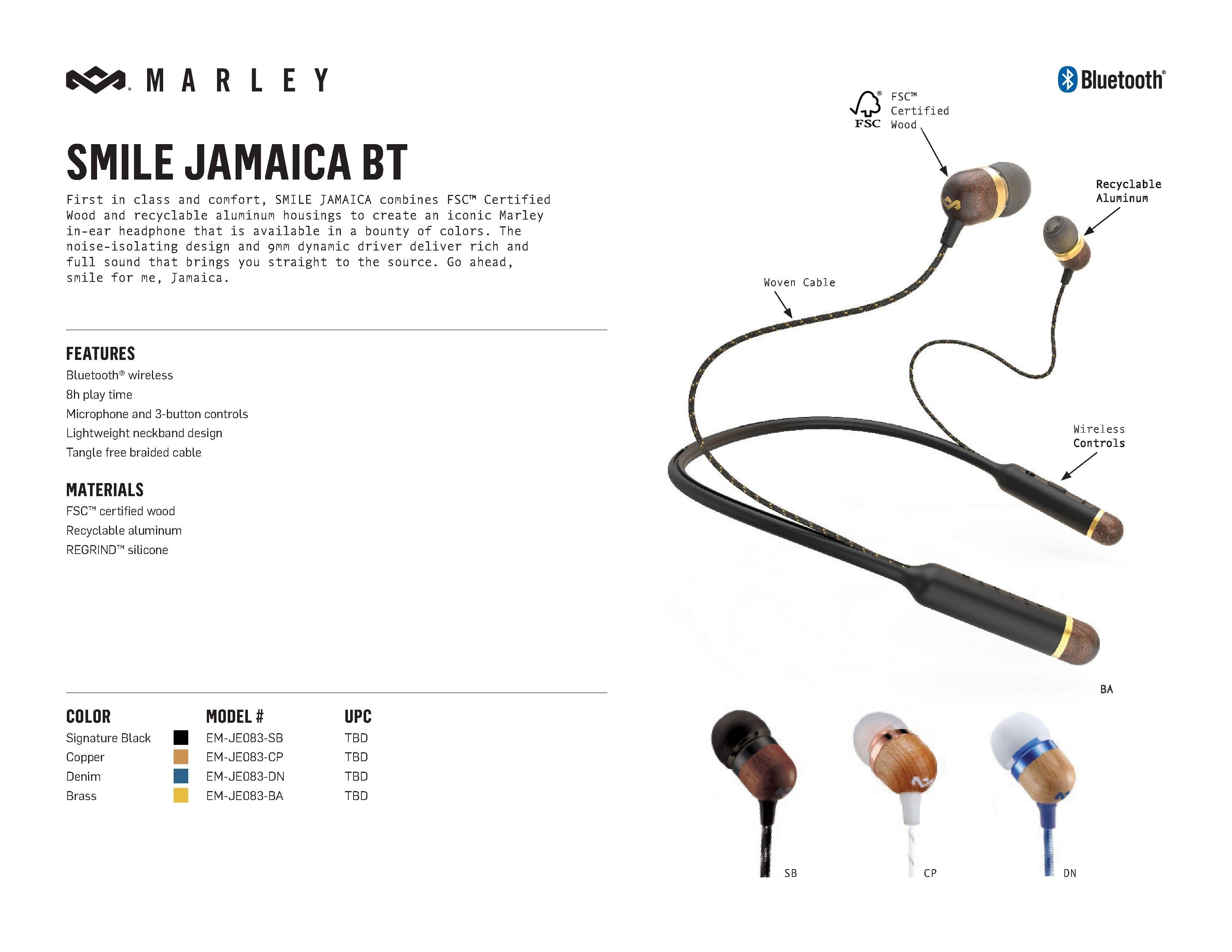 Слушалки House of Marley Smile Jamaica BT - черни - 3