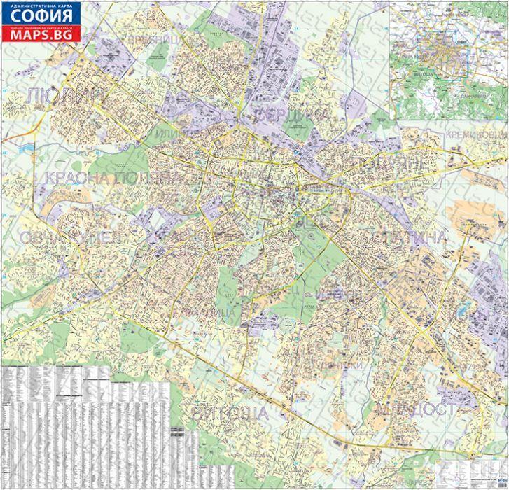 Stenna Administrativna Karta Na Sofiya 1 8 000 Ozone Bg