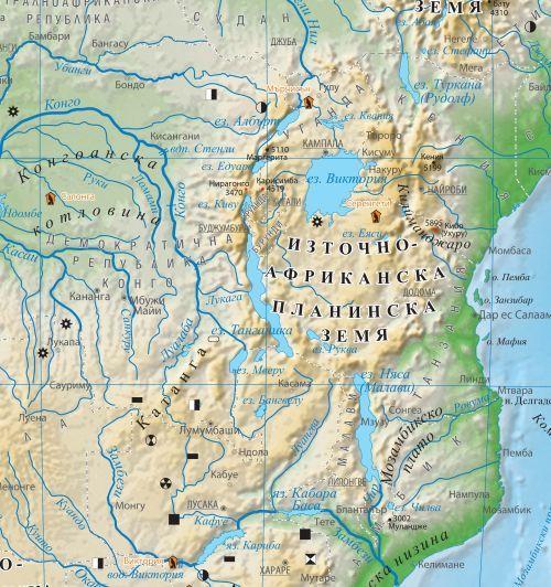 Stenna Fizikogeografska Karta Na Afrika 1 8 000 000 Ozone Bg