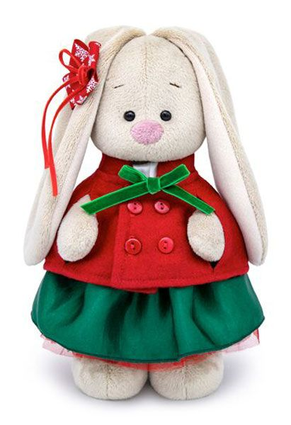 Плюшена играчка Budi Basa - Зайка Ми, със зелена поличка и червено палтенце, 32 cm - 1