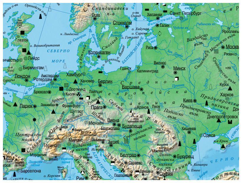 Fizikogeografska Stenna Karta Na Evropa 1 4 500 000 Ozone Bg