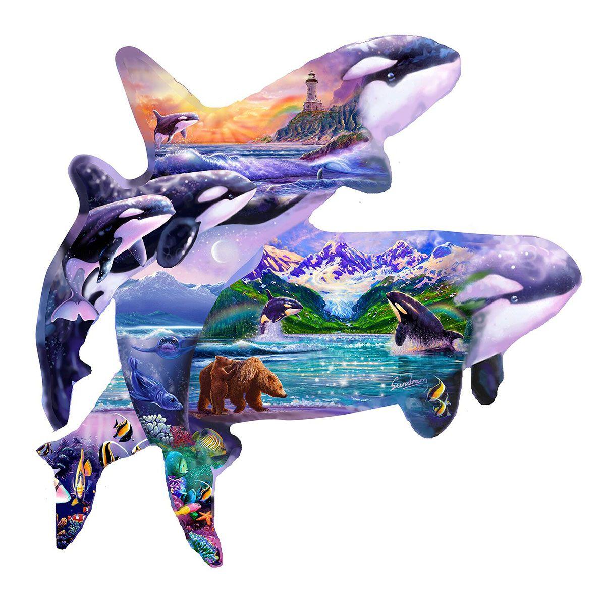 Пъзел SunsOut от 1000 части - Китове убийци, Стийв Съндрам - 1