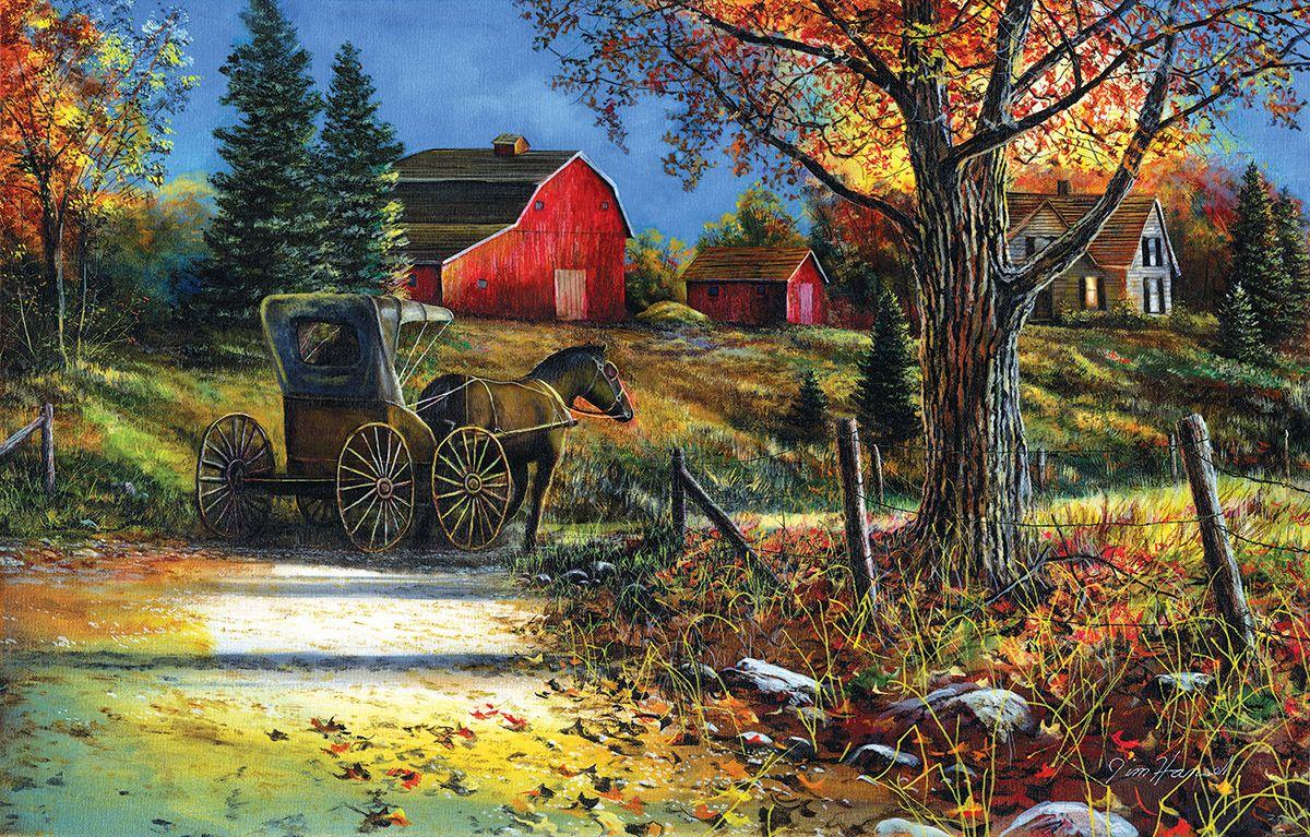 Пъзел SunsOut от 1000 части - Селски път, Джим Хенсъл - 1