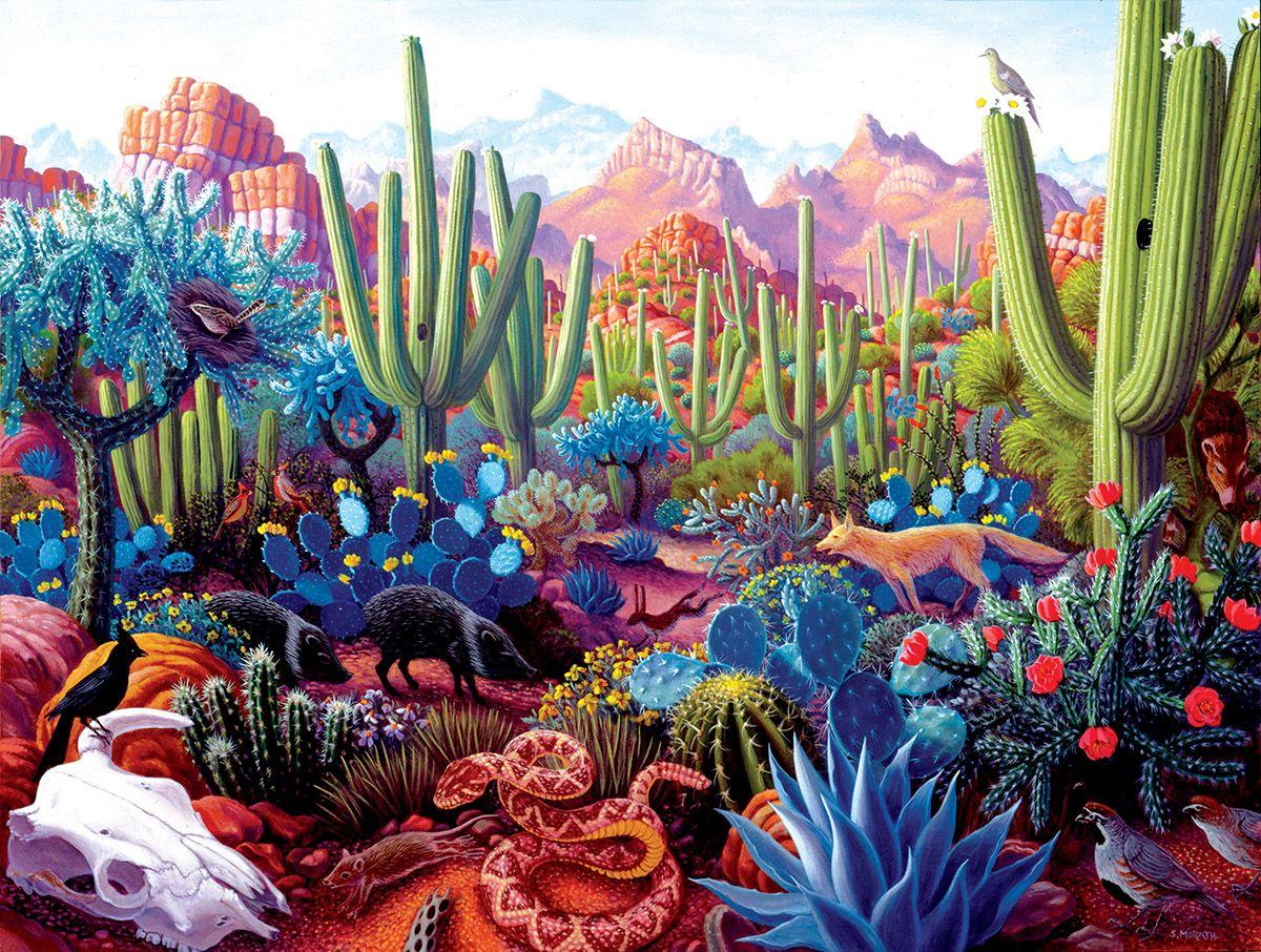 Пъзел SunsOut от 1000 части - Страната на кактусите, Стивън Морат - 1