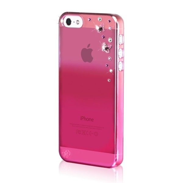 Swarovski Butterflies Mirror за iPhone 5 -  розов - 2