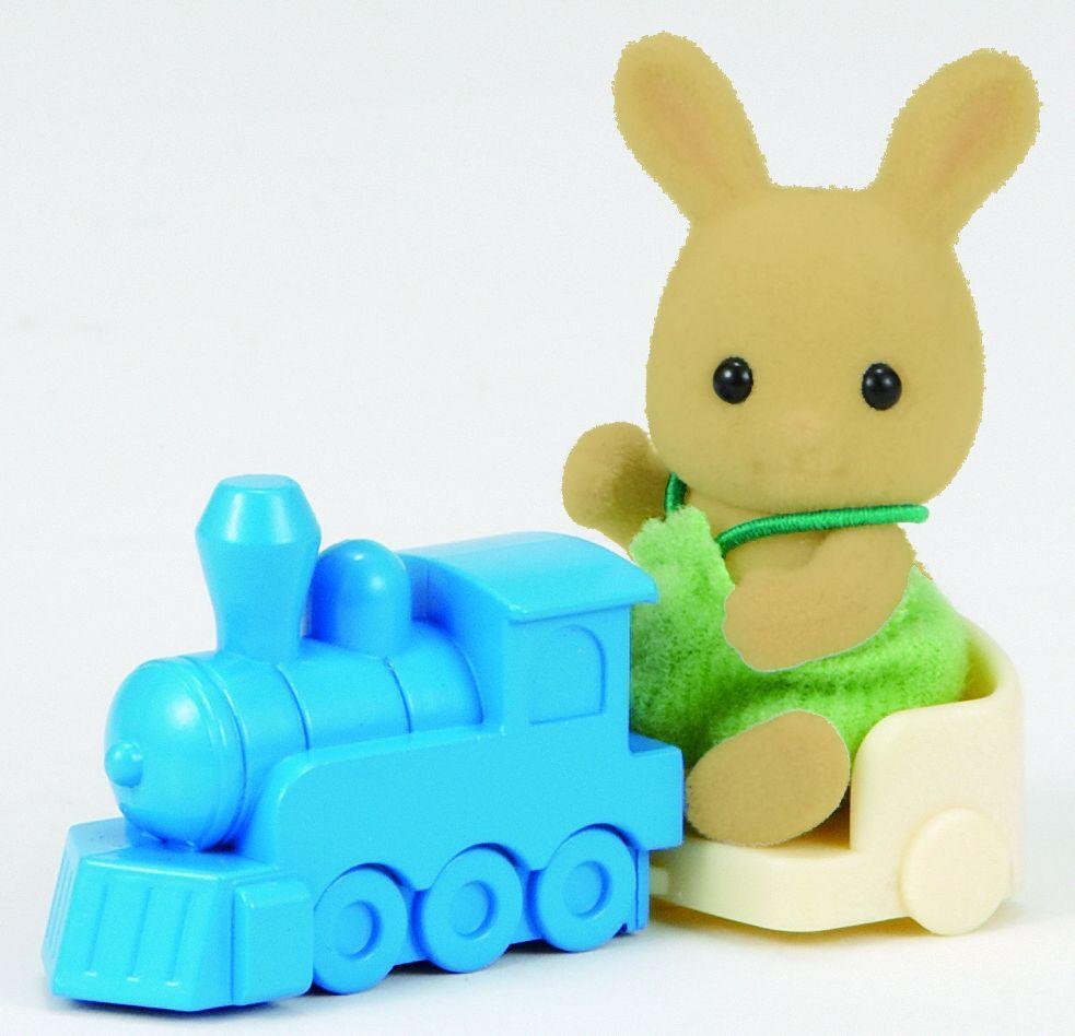 Комплект фигурки Sylvanian Families - Бебе зайче, с влакче - 2