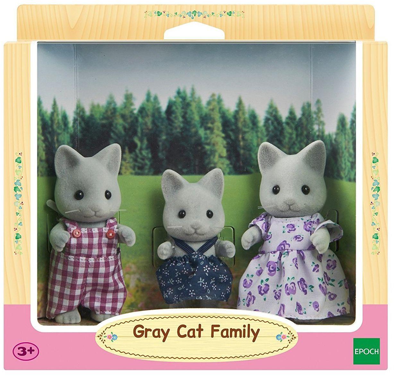 Комплект фигурки Sylvanian Families - Семейство котета, сиви - 1