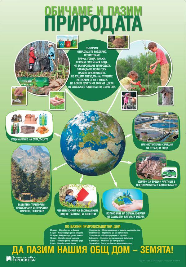 """Табло по човекът и обществото и човекът и природата за 3. клас """"Обичаме и пазим природата"""" (Просвета) - 1"""
