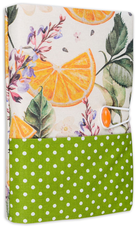 Текстилна подвързия за книга Портокал (зелен фон) - 1