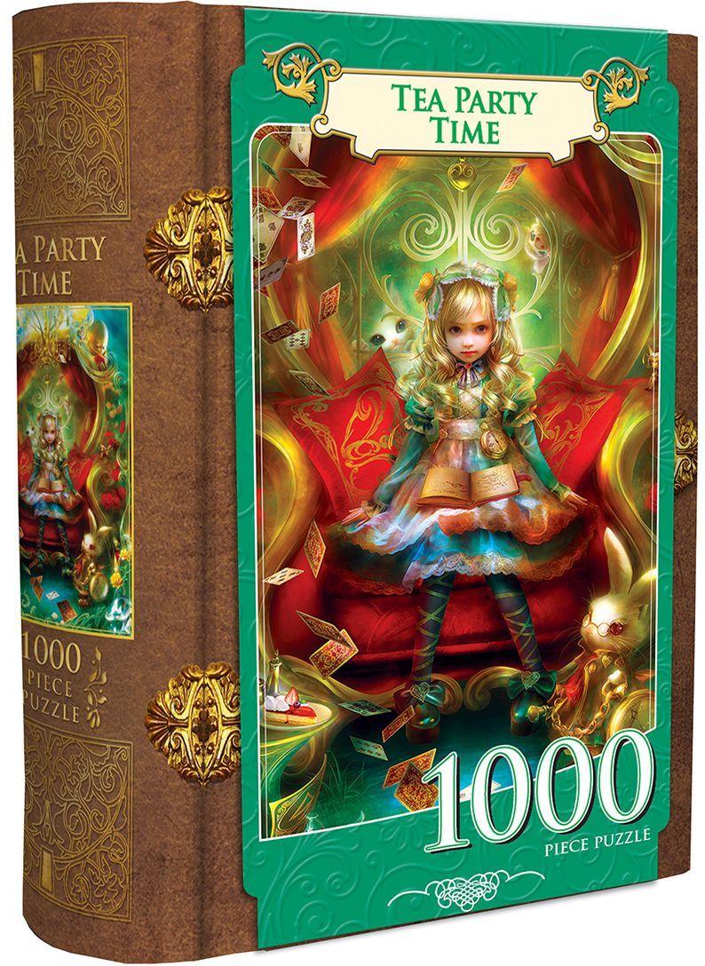 Пъзел в кутия-книга Master Pieces от 1000 части - Алиса в Страната на чудесата, чаено парти - 1