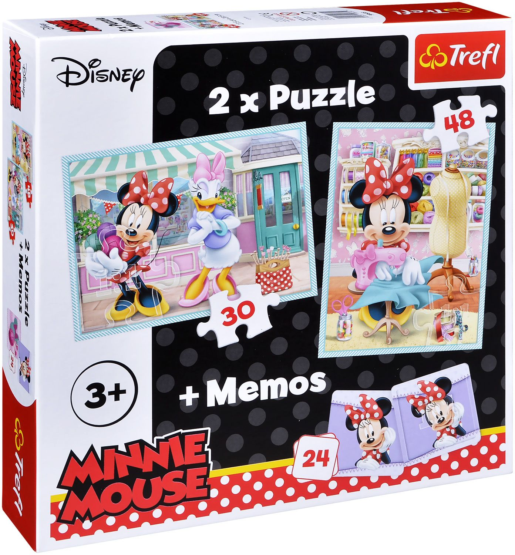 Комплект пъзел Trefl 2 в 1 с мемо игра - Хобито на Мини Маус - 1