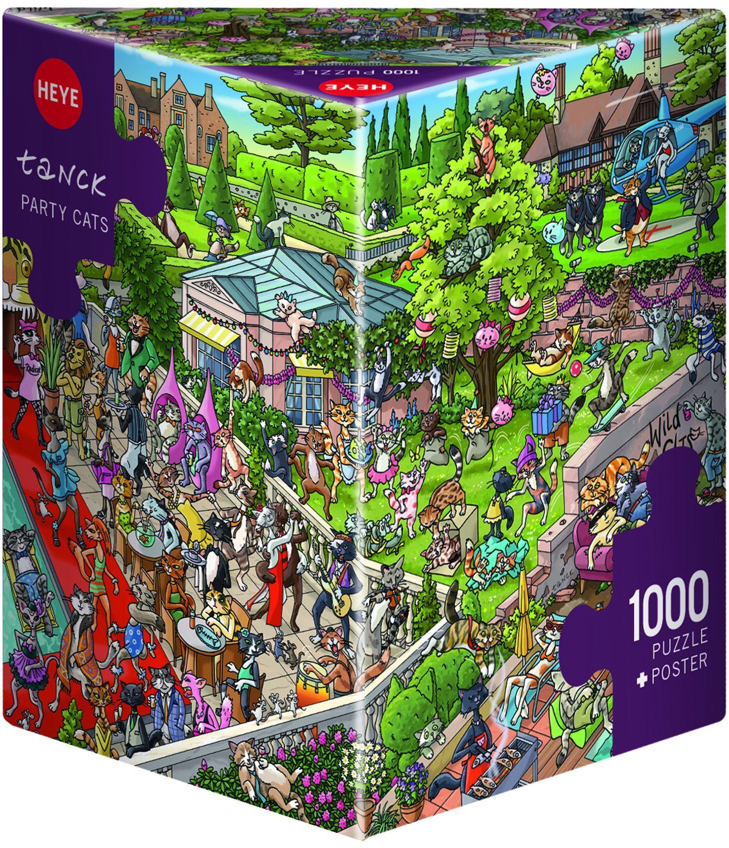 Пъзел Heye от 1000 части - Парти котки, Биргит Танк - 1