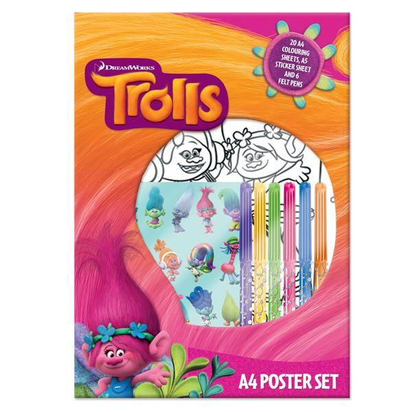 Комплект за оцветяване Trolls A4 Poster Set - 1