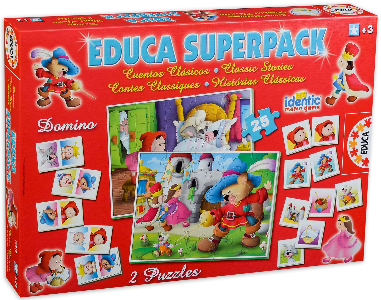 Комплект пъзели и игри Educa identic - Котаракът с чизми - 1