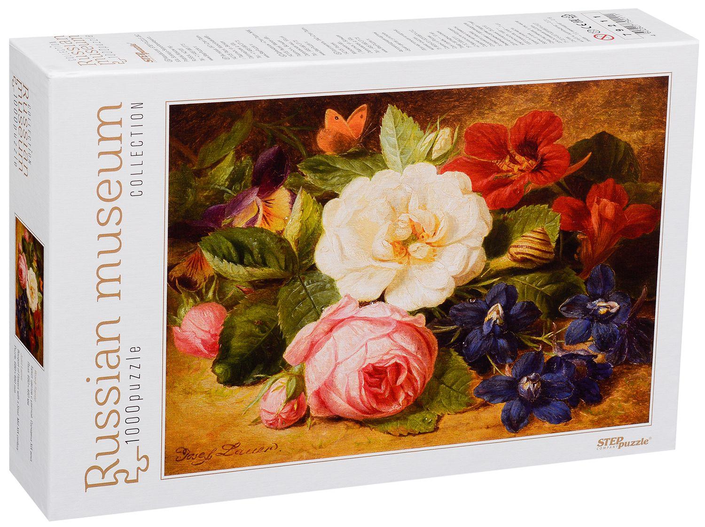 Пъзел Step Puzzle от 1000 части - Букет цветя с охлюв, Йозеф Лауер - 1