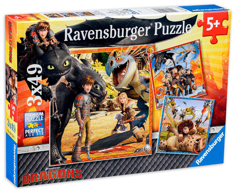 Пъзел Ravensburger от 3 x 49 части - Как да си дресираш дракон - 1