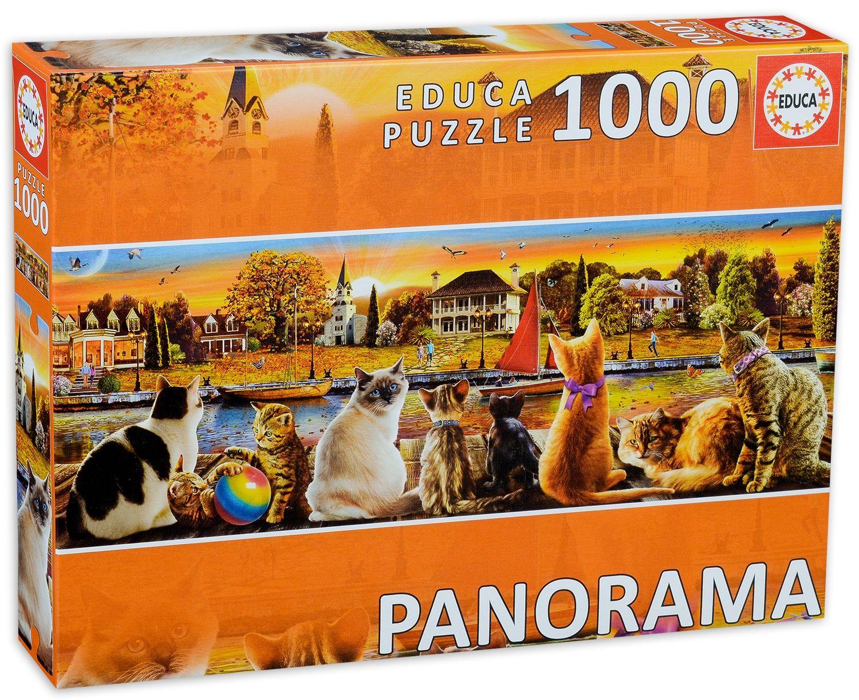 Панорамен пъзел Educa от 1000 части - Котки на кея - 1