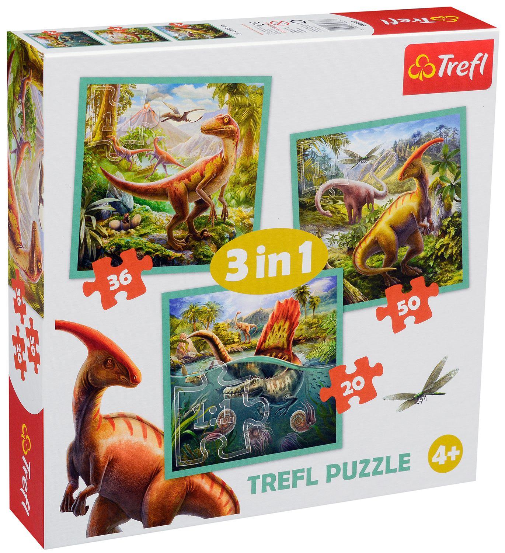 Пъзел Trefl 3 в 1 - Динозавърски свят - 1