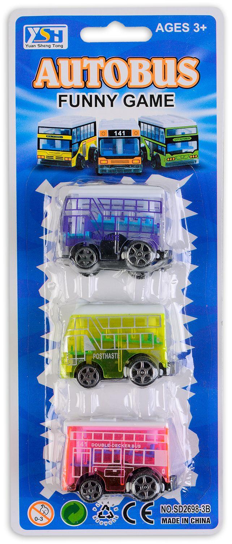 Комплект 3 автобуса - Розов, син, зелен - 1