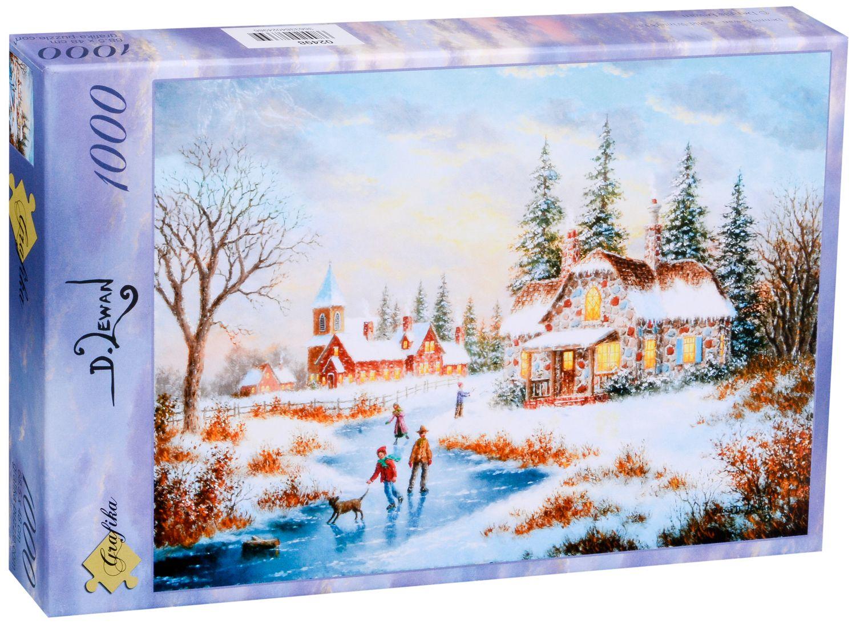 Пъзел Grafika от 1000 части - Вечер в средата на зимата, Денис Люън - 2