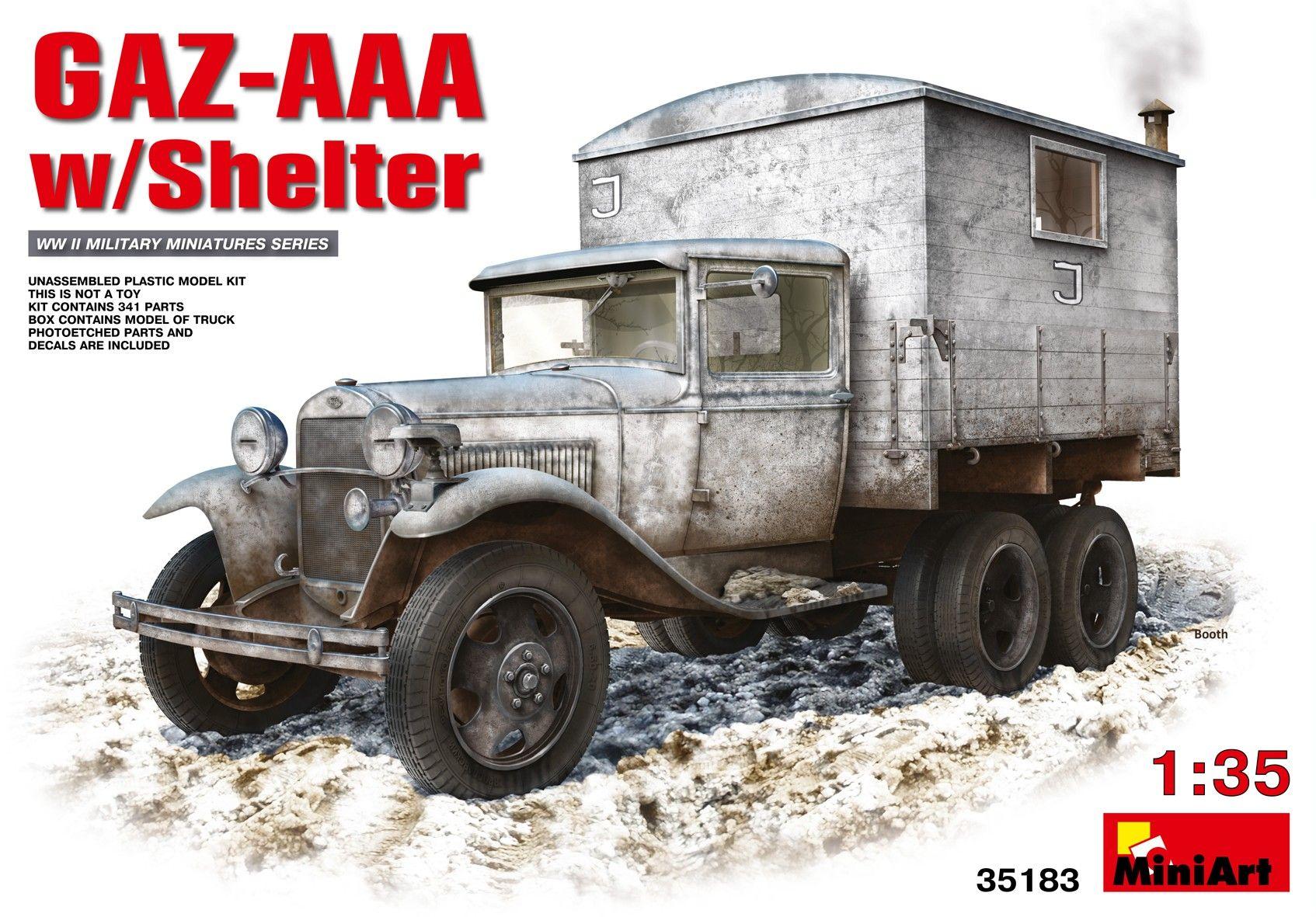 Военен сглобяем модел - Съветски военен автомобил GAZ-AAA с фургон - 1