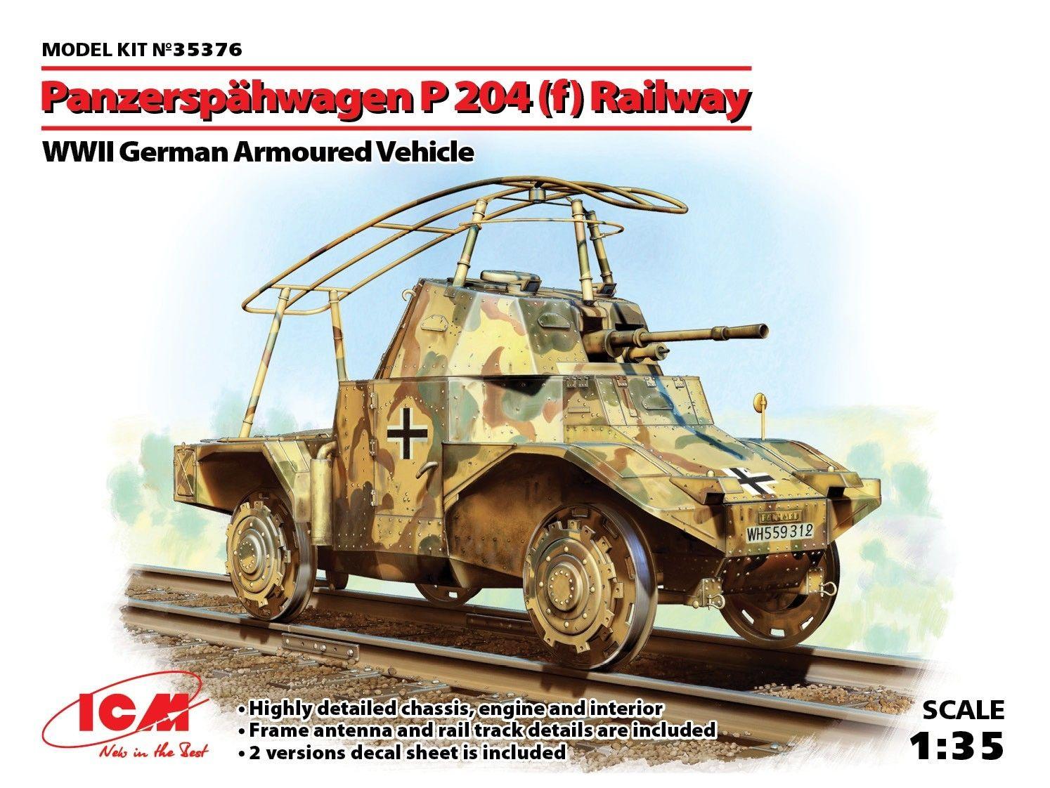 Военен сглобяем модел - Германска бронирана машина Панар П 204 за релсов път (German Armoured Vehicle Panzerspahwagen P 204(f) Railway, WWII) - 1