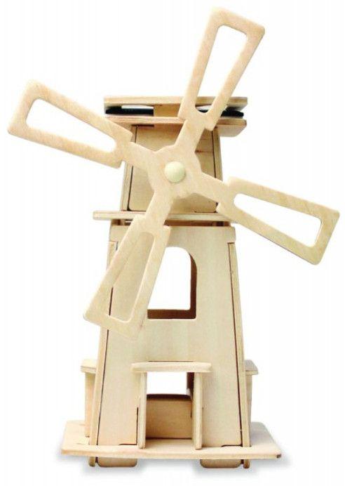 Дървен 3D пъзел Robo Time от 21 части – Соларна вятърна мелница 3 - 1