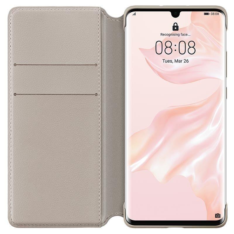 Калъф Huawei - Vogue P30 Pro, Wallet Cover, khaki - 3